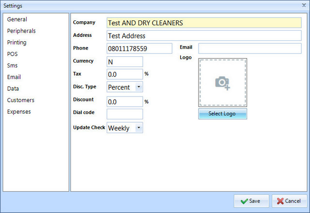 cleanwash laundry and drycleaning management settings customize